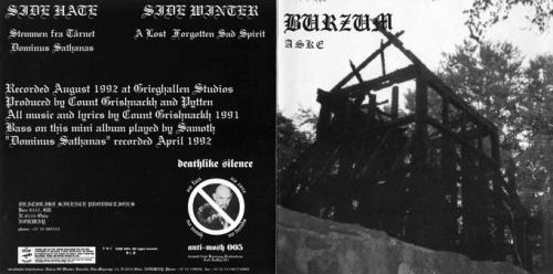 Burzum - ASKE (ep) - Fantoft Stave Church destroyed on cover